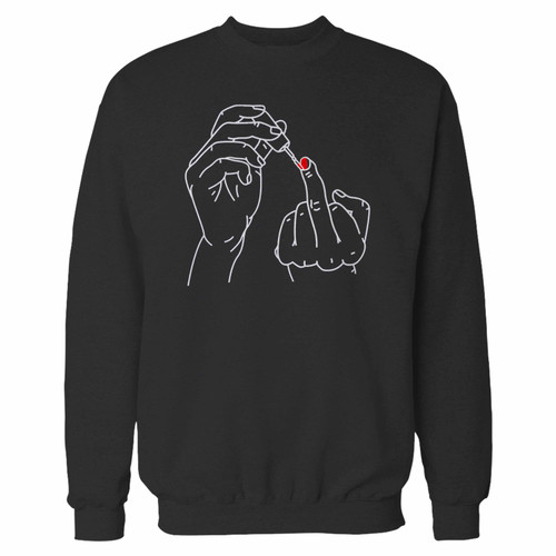Your nail polish middle finger crewneck sweatshirt just got an update. This super comfortable and lighter weight crewneck will become your favorite go-to sweatshirt. The cozy spandex cuffs and waistband make this pill-resistant sweatshirt a fan favorite.And your group will look and feel their best in this premium ringspun cotton crew.