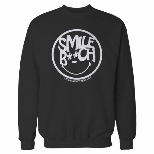 Your smile bitch crewneck sweatshirt just got an update. This super comfortable and lighter weight crewneck will become your favorite go-to sweatshirt. The cozy spandex cuffs and waistband make this pill-resistant sweatshirt a fan favorite.And your group will look and feel their best in this premium ringspun cotton crew.