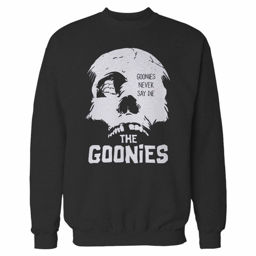 Your the goonies never say die crewneck sweatshirt just got an update. This super comfortable and lighter weight crewneck will become your favorite go-to sweatshirt. The cozy spandex cuffs and waistband make this pill-resistant sweatshirt a fan favorite.And your group will look and feel their best in this premium ringspun cotton crew.