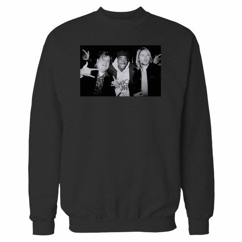 Your chris farley kurt cobain 2pac tupac hanging out crewneck sweatshirt just got an update. This super comfortable and lighter weight crewneck will become your favorite go-to sweatshirt. The cozy spandex cuffs and waistband make this pill-resistant sweatshirt a fan favorite.And your group will look and feel their best in this premium ringspun cotton crew.