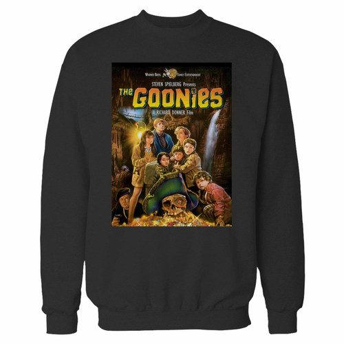 Your the goonies crewneck sweatshirt just got an update. This super comfortable and lighter weight crewneck will become your favorite go-to sweatshirt. The cozy spandex cuffs and waistband make this pill-resistant sweatshirt a fan favorite.And your group will look and feel their best in this premium ringspun cotton crew.