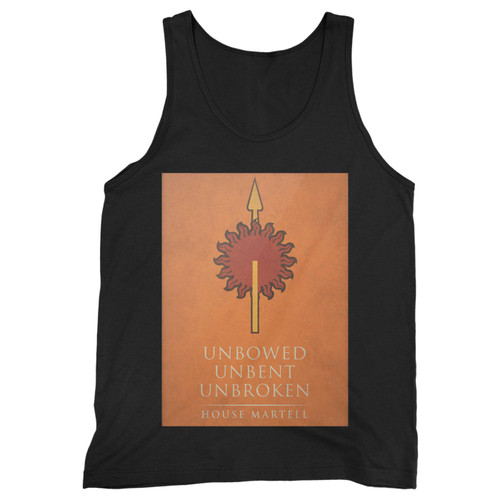 Our cotton unbowed unbent unbroken house martell men tank top is perfect for those intense workouts in the gym, at practice or pickup games.