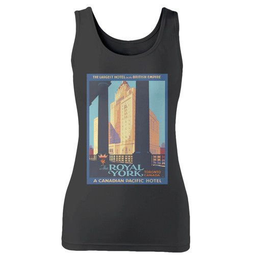 High quality print of this slim fit 1920s vintage royal york hotel women tank top will turn heads. And bystanders won't be disappointed - the racerback cut looks good one any woman's shoulders.