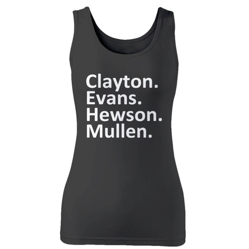 High quality print of this slim fit u2 band members women tank top will turn heads. And bystanders won't be disappointed - the racerback cut looks good one any woman's shoulders.