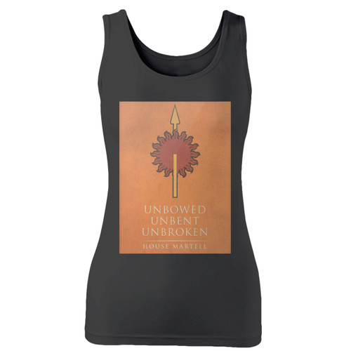 High quality print of this slim fit unbowed unbent unbroken house martell women tank top will turn heads. And bystanders won't be disappointed - the racerback cut looks good one any woman's shoulders.