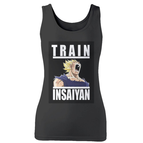 High quality print of this slim fit vegeta train insaiyan women tank top will turn heads. And bystanders won't be disappointed - the racerback cut looks good one any woman's shoulders.