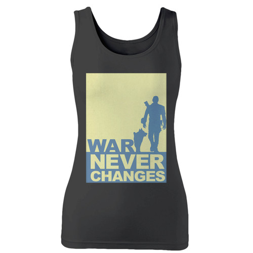 High quality print of this slim fit war never changes women tank top will turn heads. And bystanders won't be disappointed - the racerback cut looks good one any woman's shoulders.