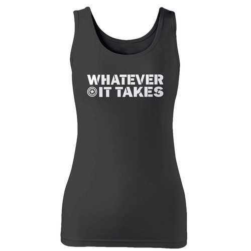 High quality print of this slim fit whatever it takes avengers women tank top will turn heads. And bystanders won't be disappointed - the racerback cut looks good one any woman's shoulders.