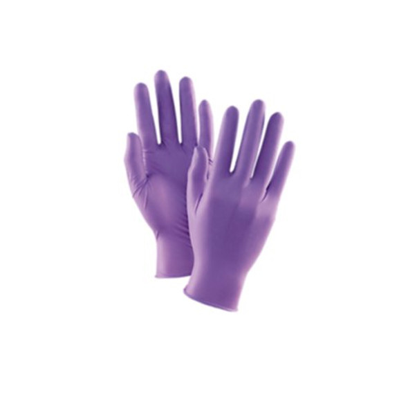 Purple disposable nitrile gloves