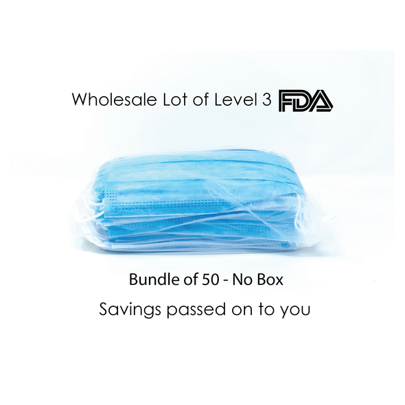 3Ply-Disposable Face Mask - 50 bundle/No Box
