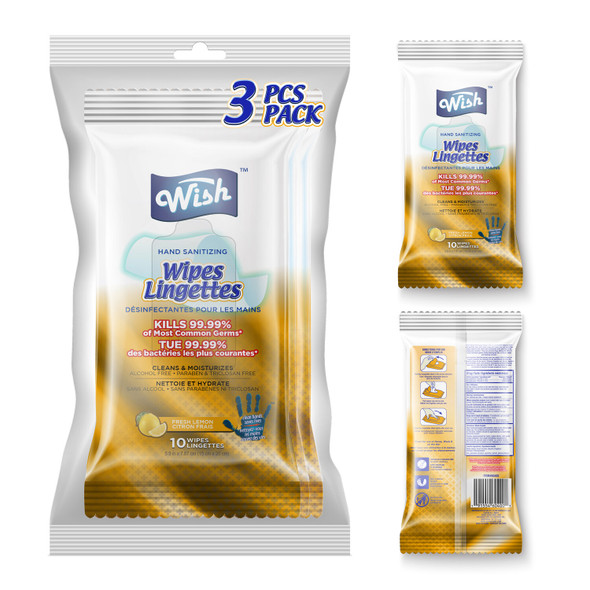 Wish Hand Sanitizing Wipes Bag 10CT 3PK Lemon