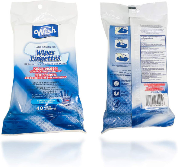 Wish Hand Sanitizing Wipes Bag 40CT 75% Alcohol