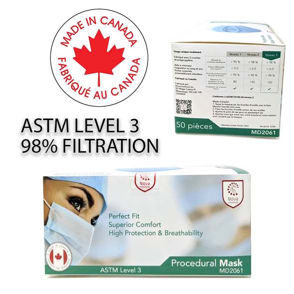 Nova Institute Canadian Made Face Masks  - Box of 50