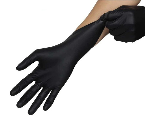 Black disposable nitrile gloves
