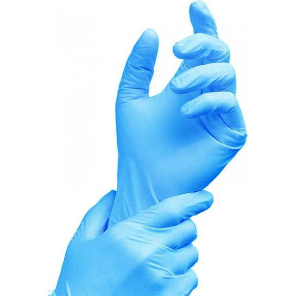Blue disposable nitrile gloves