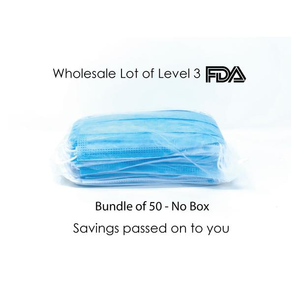 3Ply-Disposable Face Mask - 50 bundle/No Box