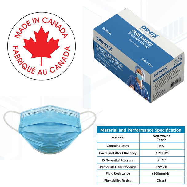 DENTX - ASTM Level 3 Surgical Mask (50 Masks)[MADE IN CANADA]