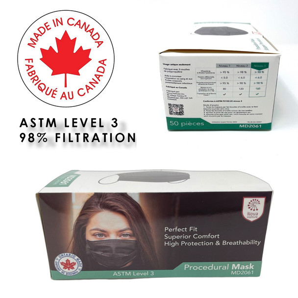 Nova Institute Canadian Made Face Masks  - Box of 50 - Black
