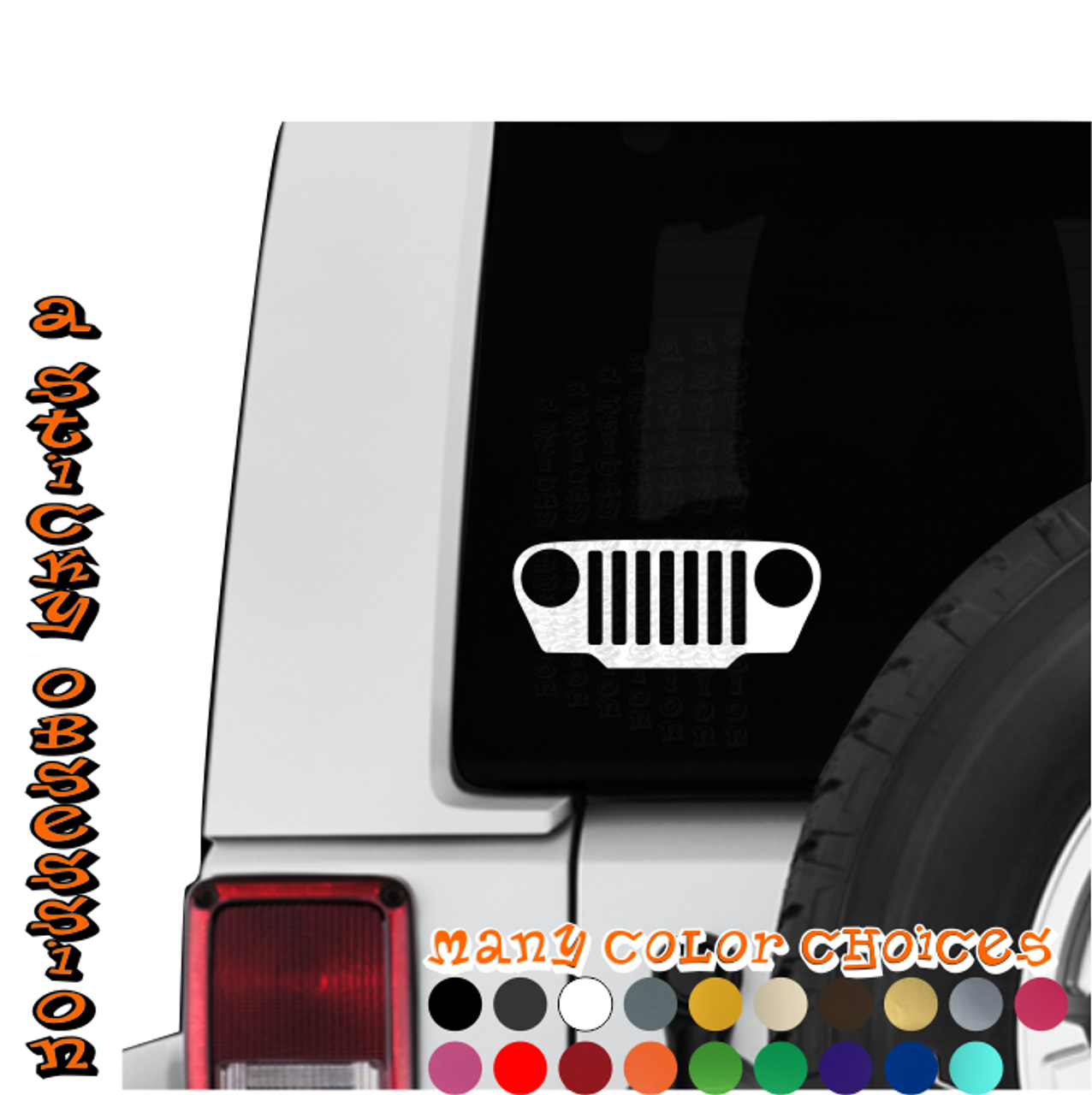 Jeep Wrangler Tj Jk Windshield Grill Decals Stickers buy 2 get 3!
