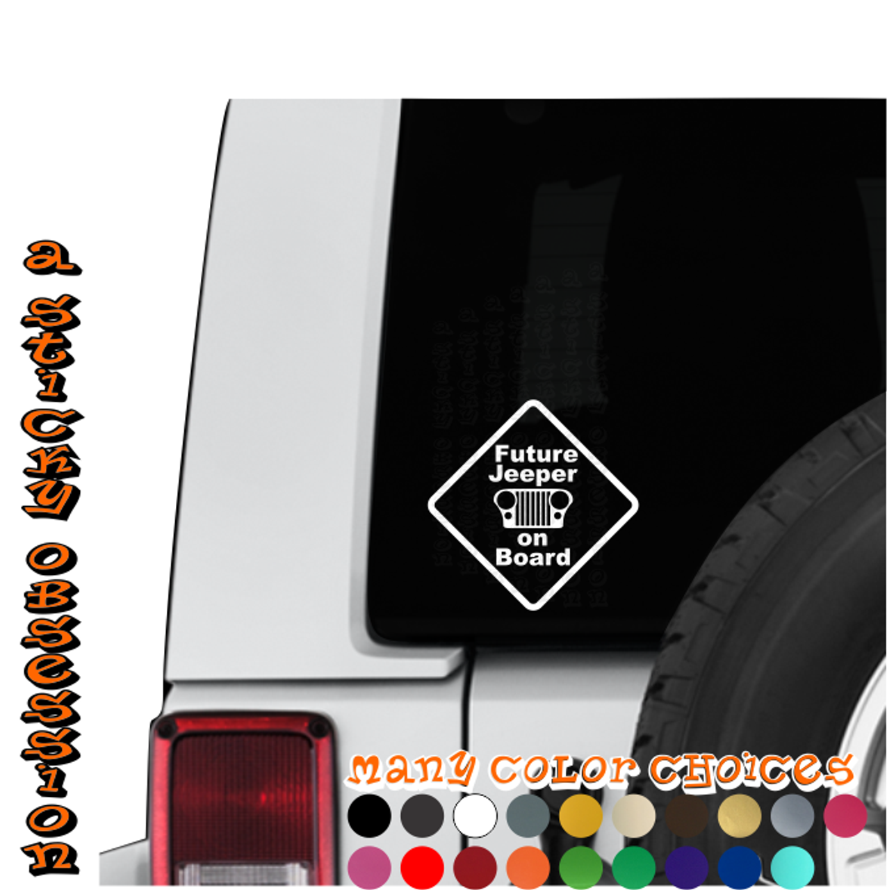 Future jeeper on board jeep wrangler cj custom die cut decal sticker