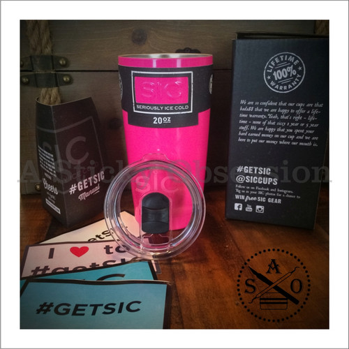 SIC Cups 20oz Stainless Steel Hot Pink Powder Coated Tumbler