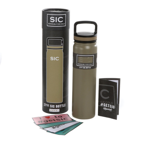 SIC Cups 27oz Stainless Steel Matte Khaki Powder Coated Bottle