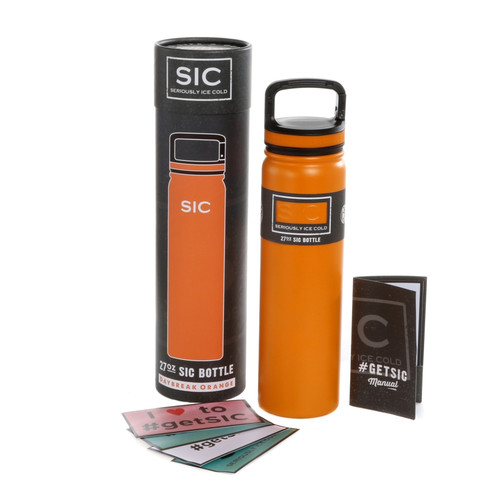 SIC Cups 27oz Stainless Steel Daybreak Orange Powder Coated Bottle