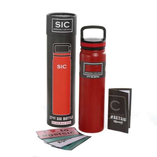 SIC Cups 27oz Stainless Steel Game Dar Red Powder Coated Bottle