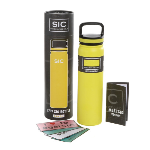 SIC Cups 27oz Stainless Steel Lemon Yellow Powder Coated Bottle