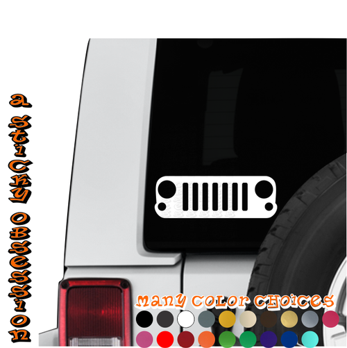 Jeep Wrangler JK grill decal on Jeep