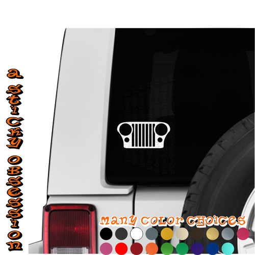 Jeep Wrangler CJ grill decal on Jeep