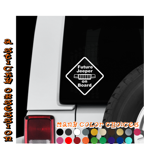 Future Jeeper on Board Jeep WJ White decal on Jeep Wrangler window