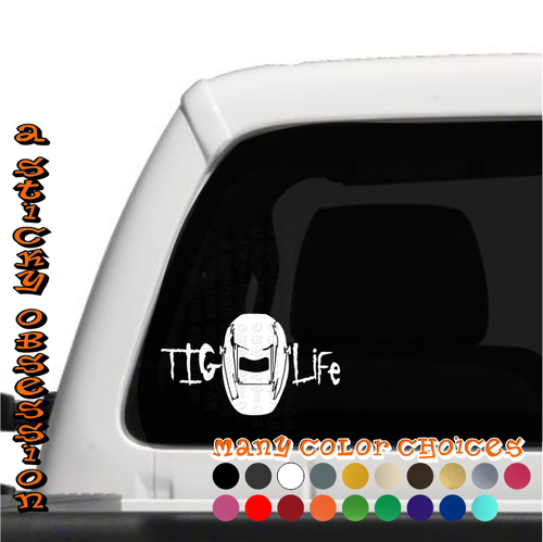 TIG Life welding helmet decal on truck