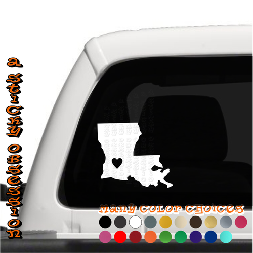Louisiana Heart white decal on truck
