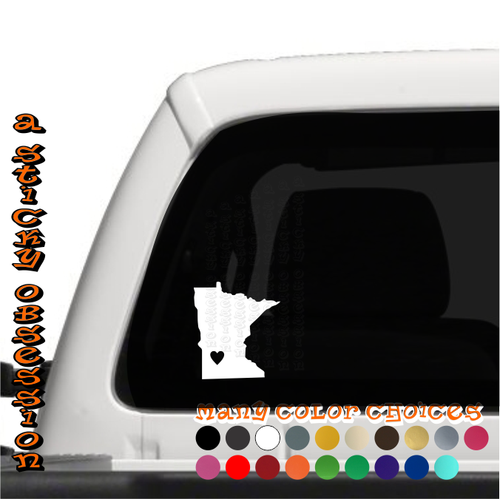 Minnesota Heart white decal on truck