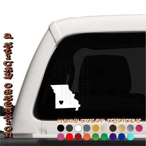 Missouri Heart white decal on truck
