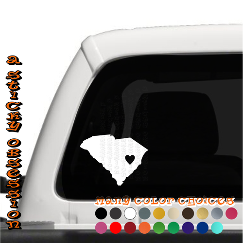 South Carolina Heart white decal on truck