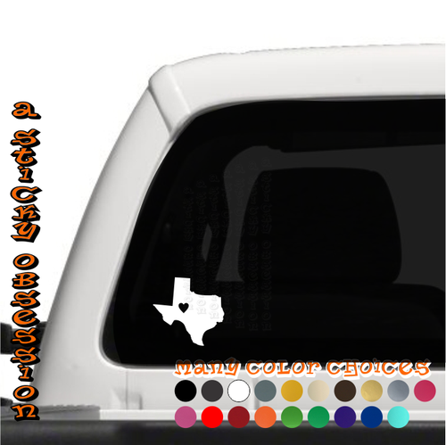 Texas Heart white decal on truck