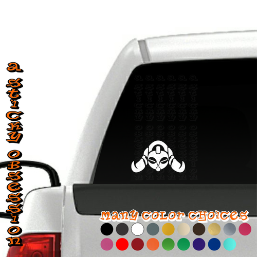 Overwatch Orisa white decal on truck