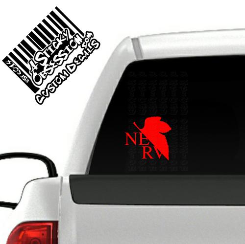 Neon Genesis Evangelion NERV red decal on truck