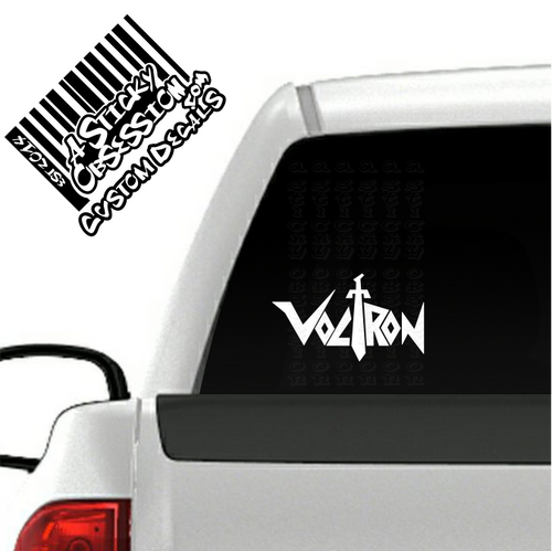Voltron white decal on truck