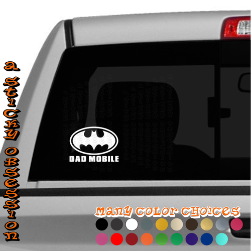 Batman Dad Mobile Batmobile decal on truck