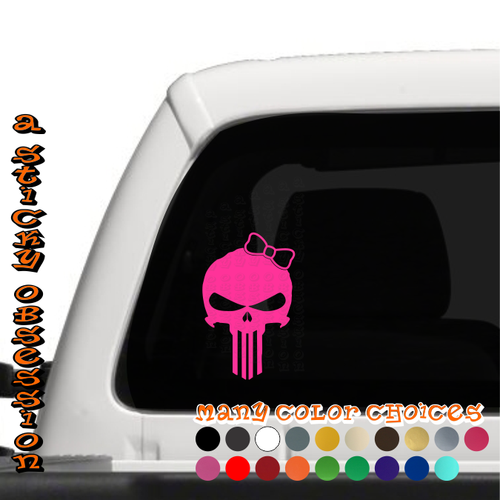 Punisher Girl Skull with Bow Decal on Truck
