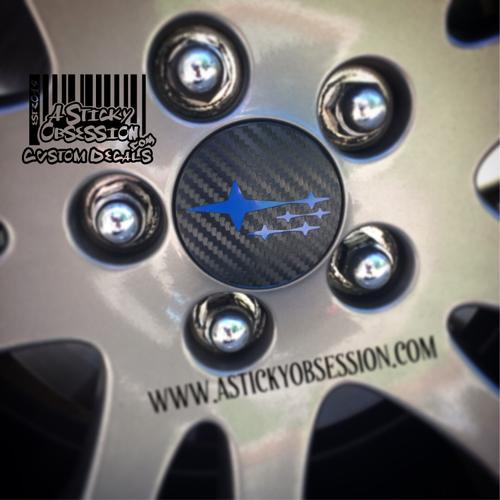 Subaru Stars wheel center cap carbon fiber with blue stars