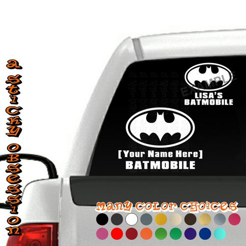 Personalized Batmobile Batman Decal on truck