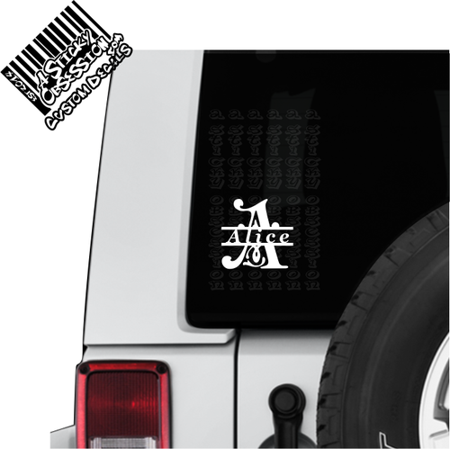 Split letter monogram on jeep