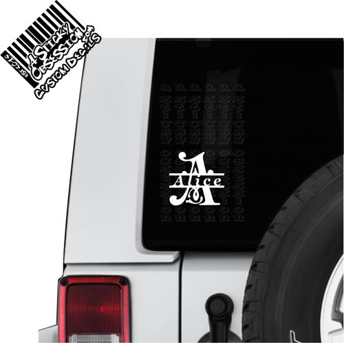 Split letter monogram on jeep