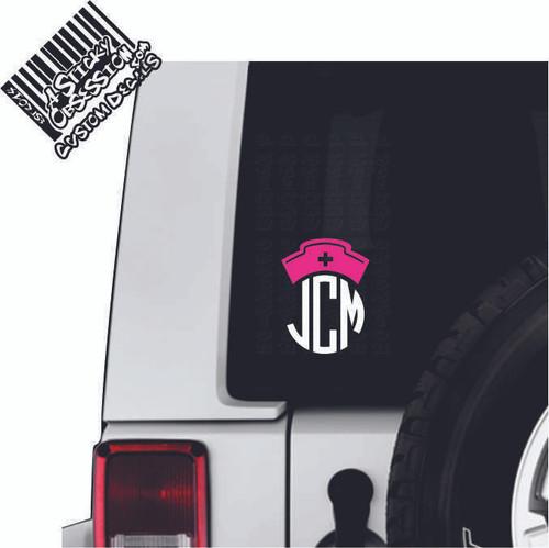 Nurse Hat Monogram 2 tone Custom Decal on Jeep
