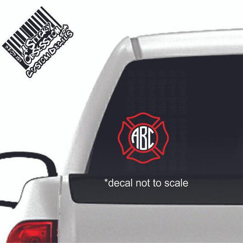 Firefighter Maltese Cross Monogram 2 tone decal on truck