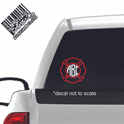 Firefighter Maltese Cross Monogram 2 tone decal on truck